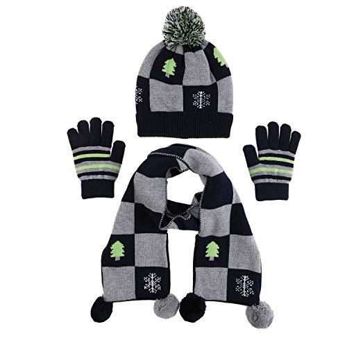 100% Cotton Hat Scarf Mitten Set Baby Fashion Checkered Pom Scarves Toddler Snow Beanie Cap Boy Winter Gloves (M)