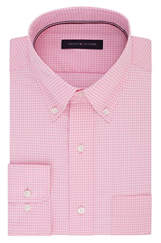 Tommy Hilfiger Men's Non Iron Regular Fit Gingham Buttondown Collar Dress Shirt, Vintage Rose, 16.5