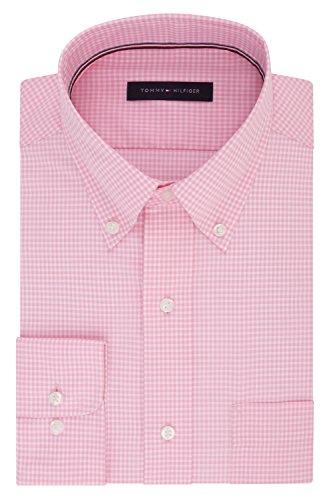 Tommy Hilfiger Men's Non Iron Regular Fit Gingham Buttondown Collar Dress Shirt, Vintage Rose, 17.5