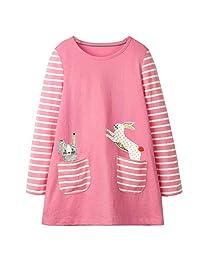 KIDSALON Little Girls Casual Cartoon Print Long Sleeve Cotton Dresses