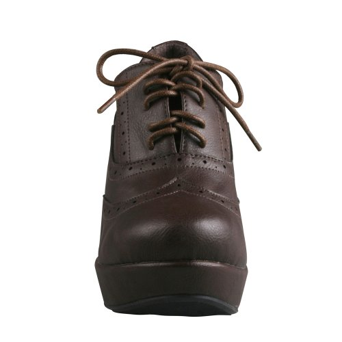 Refresh Womens Lace-Up Platform Oxford Styls Wedge Booties Brown dSlMWQiaK