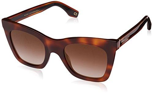 (Marc Jacobs Women's Square Havana Frame Sunglasses, Dark Havana/Brown Gold, One Size)
