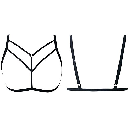 79174a101ef4c Romacci Women Harness Bra Strappy Hollow Out Bra Sexy Body Lingerie Cage  Elastic Cage Bra Cupless