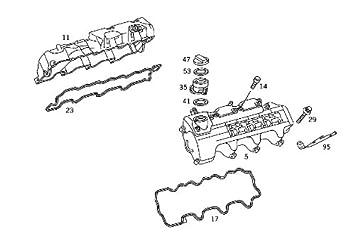 mercedes (98 06 v6 engine valve cover gasket left genuine w203 w210 w211 w163 w170 w208  e320 v6 engine diagram #7