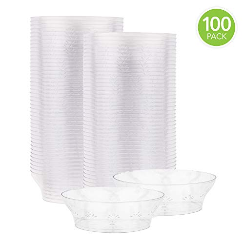 Clear Plastic Dessert Cups with Floral Design, Disposable Party Cups for Dessert, Ice Cream Sundae, Candy, Salsa - Small Serving Bowls, 10 Ounce, 100 Count