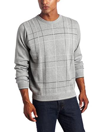 Van Huesen Men's 9GG Fancy Windowpane Crew Neck Sweater, Light Grey Heather, Large