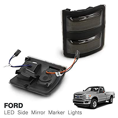 Led Side Mirror Marker Lamp For F250 F350 F450 F550 Super Duty Switchback White Led Driving Parking Light Amber Led Turn Signal Light Smoke Lens: Automotive