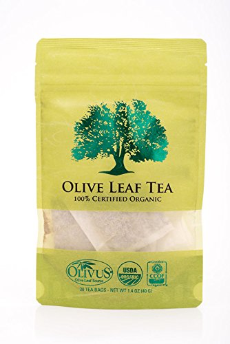 Olive Leaf Tea - Certified Organic - Non-GMO Herbal Tea Bags (20 count) - Sourced from Spain and Manufactured in USA - Antioxidant Immunity Supplement for Health Wellness & Vitality