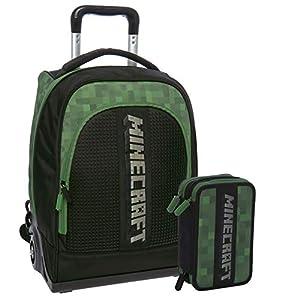 MINECRAFT Schoolpack Zaino Trolley Organizzato 3 Cerniere più Astuccio Scuola 3 Zip Completo Di Cancelleria Licenza… 2 spesavip