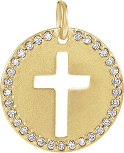 14K Yellow .08 CTW Diamond Pierced Cross Disc Pendant in 14k Yellow Gold