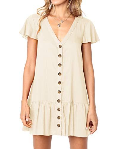 (Imysty Womens Polka Dot V Neck Button Down Ruffles Loose Mini Short T-Shirt Dress (Large, Z1-Khaki))