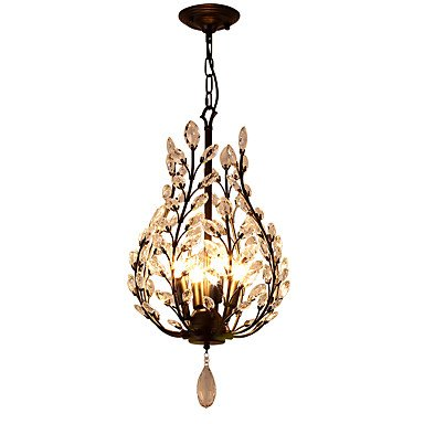 YOHU 4 Lights Crystal Chandelier Modern/Contemporary Traditional/Classic Rustic/Lodge Vintage Retro Lantern Country Antique Brass Feature Transformable Chandelier (220-240V)