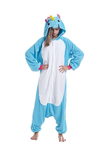 Sqlszt Women Men Adult Animal Unicorn One Piece Onesie Cosplay Pajama Costume M