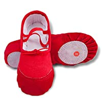 Girls Ballet Slippers Canvas Flats Dance Shoes Slippers for Kids Flats Size 3(US 3M Little Kid,Red-37)