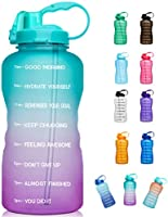 Giotto Large 1 Gallon/128oz (When Full) Motivational Water Bottle with Time Marker & Straw, Leakproof Tritan BPA Free for...