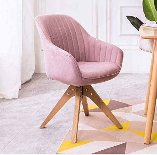 BALIAA Swivel Accent Armchair with Pink Velour Fabric Stitching Design on The Back Firm and Sturdy Oak Wood Legs for Living Room Bedroom Dressing Table