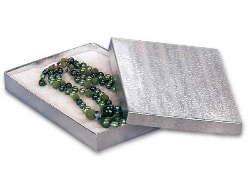 7x5x7/8'' Silver Foil Jewelry Boxes w/ non-tarnishing Cotton (Unit Pack - 100)