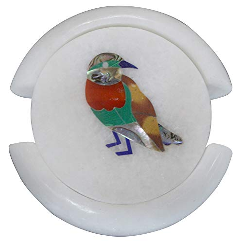 Artefactindia Coasters Cup Coaster Bird Marquetry Art Inlay Round White Marble Coaster Set 4
