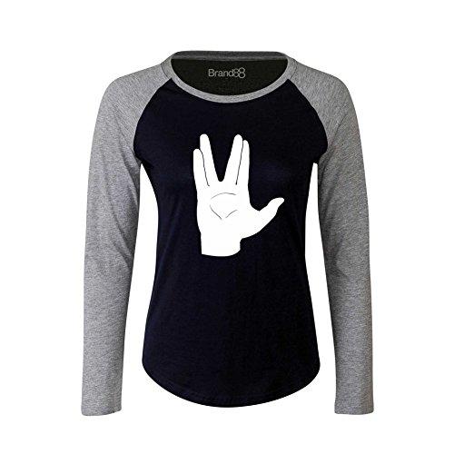 Brand88 - LLAP, Camiseta Larga De La Manga De Las Señoras Azul Marino/Gris/Blanco