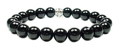 Black Obsidian Bracelet - BLACK OBSIDIAN 8mm Round Genuine Crystal Gemstone Beaded Bracelet on Elastic Cord