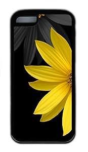 iPhone 5C Case, iPhone 5C Cases -Simple Flower Hard Silicone PC Case Cover for iPhone 5C Black