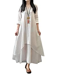 Women Boho Dress Casual Irregular Maxi Dresses Vintage Loose Long Sleeve Cotton Linen Dress,S