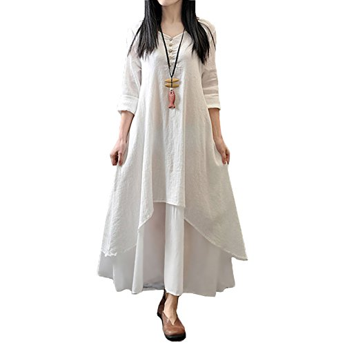 Romacci Women Boho Dress Casual Irregular Maxi Dresses Layer Vintage Loose Long Sleeve Linen Dress with Pockets,X-Large,White