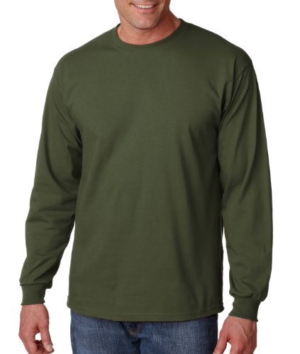 GILDAN Adult Ultra CottonTM Long-Sleeve T-Shirt>M Military Green G2400