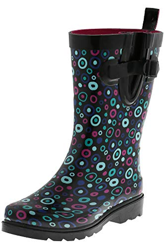 Capelli New York Ladies Carnival Dots Printed Mid Calf Rain Boots Black Combo 7 ()