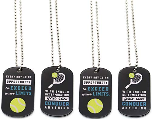 ((12-Pack) Tennis Motivational Dog Tag Necklaces - Wholesale Bulk Pack of 1 Dozen Tennis Necklaces - Party Favors Gifts Uniform Supplies for Tennis Players Fans Team)