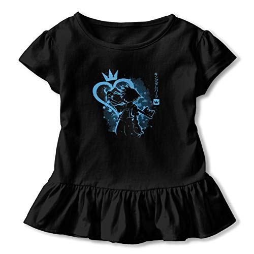 Girls Shirts Heart of The Kingdom Child Ruffle Outfits T-Shirt Toddler Tops Black -