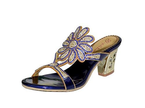 Crc Mujeres Sweet Floral Sparkle Rhinestone De Cuero Prom Wedding Party Sandalias Zapatillas Azul