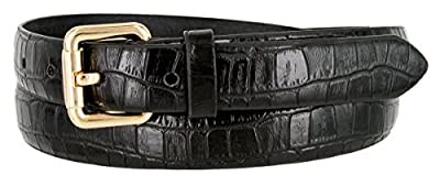 7075 Women's Skinny Alligator Embossed Leather Casual Dress Belt with Roller Buckle Style