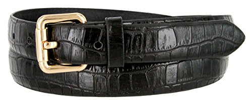 7075 Womens Skinny Alligator Embossed Leather Casual Dress Belt with Roller Buckle Style