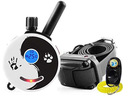 E-Collar – ET-300ZEN – 1/2 Mile Remote Waterproof Trainer Mini Educator - Static, Vibration and Sound Stimulation collar with PetsTEK Dog Training Clicker - Vibration E Collar