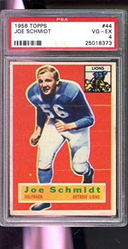 Joe Schmidt Detroit Lions - 1956 Topps #44 Joe Schmidt ROOKIE Detroit Lions RC PSA 4 Graded Football Card