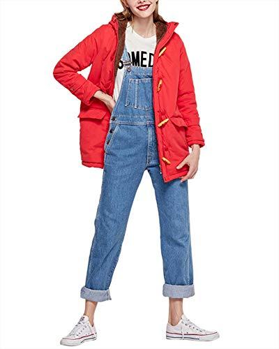 en rouge cachemire femme Zixing corne long manteau capuche boucle coton en à Veste avec en 5qPTq6O