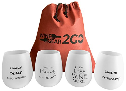 4 Wine Glasses Unbreakable W/Bag-Great Gift Food Grade Silicone Funny and Durable Shatterproof Stemless Wine Beer Whiskey Cocktail any Beverage Outdoor Party Pool Camping Beach Take Anywhere (Happy)