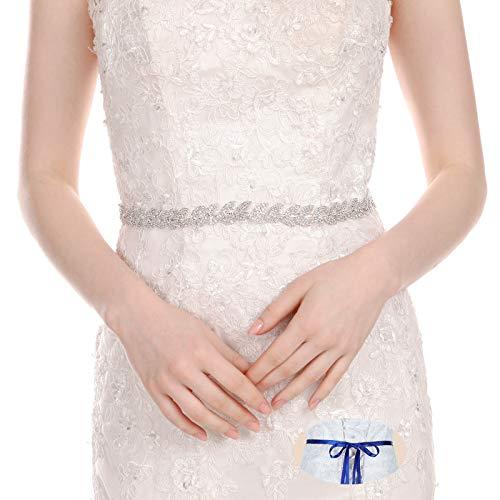 Bridal Wedding Thin Rhinestone Belts - Dress Accessories Sash Crystal Belt,(Silver&Royal blue