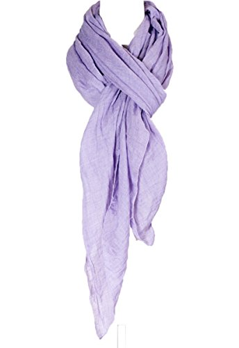 - Cotton Solid Color wrinkle Linen Scarf, fashion scarf, multi color, beach scarf (Lavender)