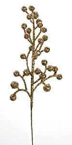Package of 24 Glittery Gold Artificial Berry Picks for Holiday Decorations or Floral Arranging