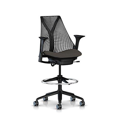 Herman Miller Sayl Stool: Fixed Arms - Fixed Seat Depth - Tilt Limiter - No Additional Support - Black Base/Frame - Standard Carpet Casters