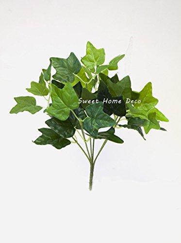 Ivy Bush - Sweet Home Deco Water-Resistant Faux Plant Artificial Leaf Bush Small Size Bush DIY Craft Greenery Set of 3 (English Ivy Leaf Bush)
