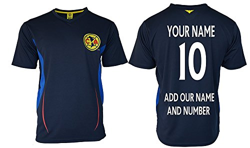 Club America Adults Soccer Jersey Performance Add Your Name and Number (L, Navy T1A08)