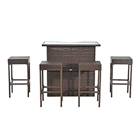 Outsunny 5 Piece Outdoor Patio Rattan Bar Set