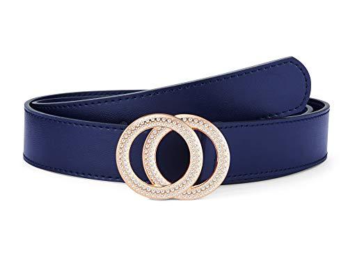 Women's Belts Genuine Leather Fashion Luxury Designer Belt For Jeans Dress Double Ring Round Diamond Buckle (Style 2 - Blue Belts + Gold Buckle, 100 cm / 39.3