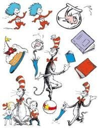 Dr. Suess Reusable Window Clings ~ Cat in the Hat, Thing 1, Thing 2 (1 Sheet 8 Clings)]()