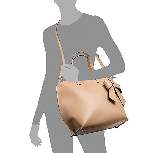 cuir pelle en Garniture authentique Véritable à FIRENZE main design Ruga Vera in cuir luxe NOIR en Made de sac ARTEGIANI Sac ITALY ruban cuir femme en 40x30x16 italiana Taupe de Couleur cm q4Z4vwP