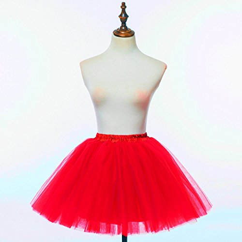 perfectday Mini tutú enaguas multicapa de volantes Frilly de ballet falda de la mujer rosso
