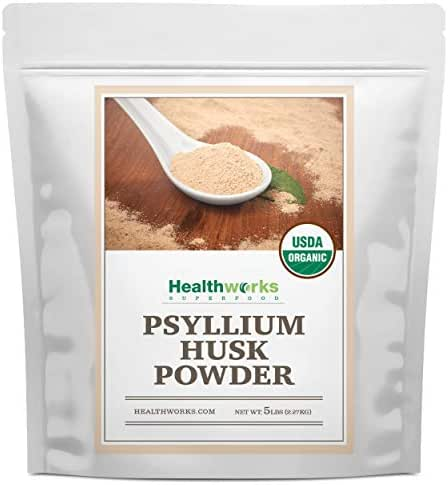 Healthworks Psyllium Husk Powder (80 Ounces / 5 Pounds) | Raw | Certified Organic | Finely Ground Powder from India | Keto, Vegan & Non-GMO | Fiber Support